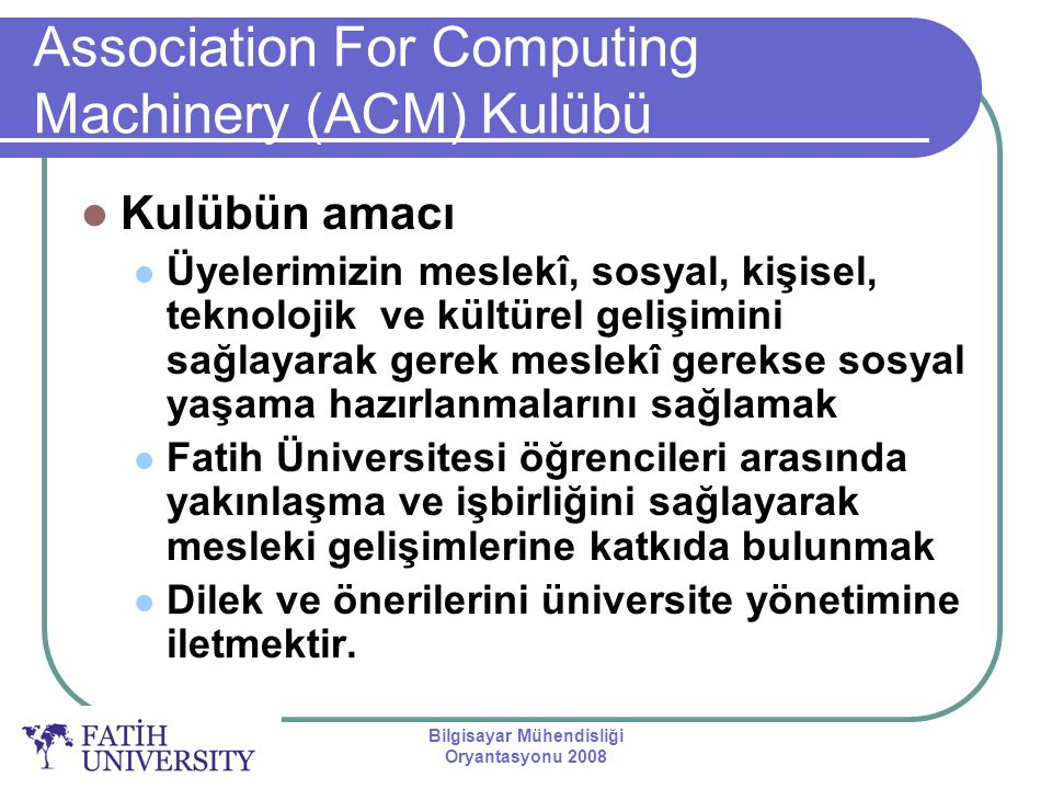 Association For Computing Machinery (ACM) Kulübü