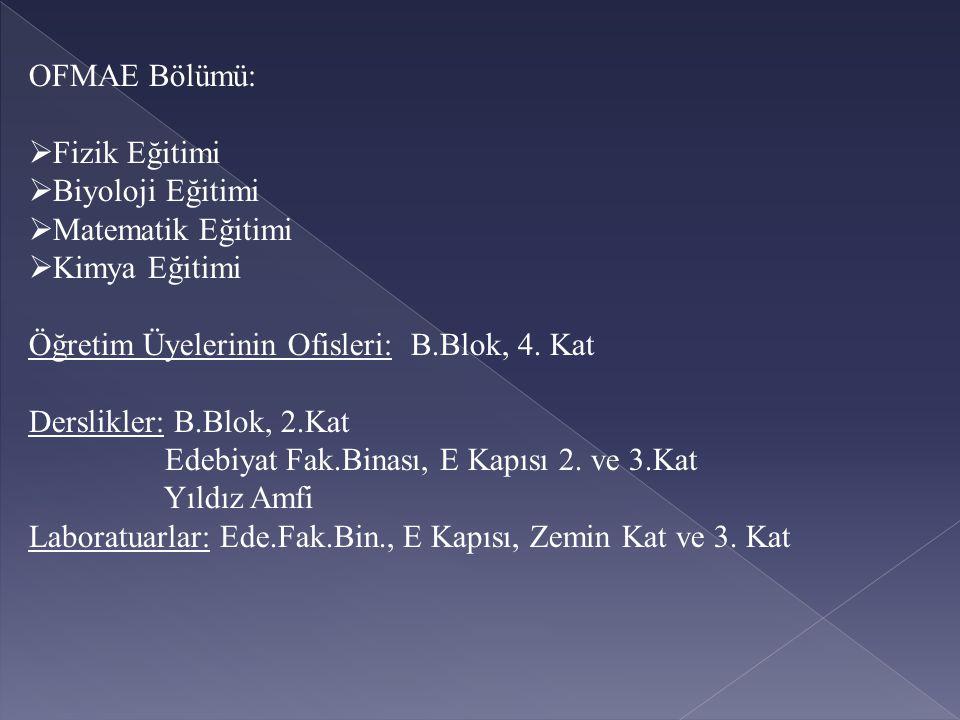 OFMAE Bölümü: Fizik Eğitimi. Biyoloji Eğitimi. Matematik Eğitimi. Kimya Eğitimi. Öğretim Üyelerinin Ofisleri: B.Blok, 4. Kat.