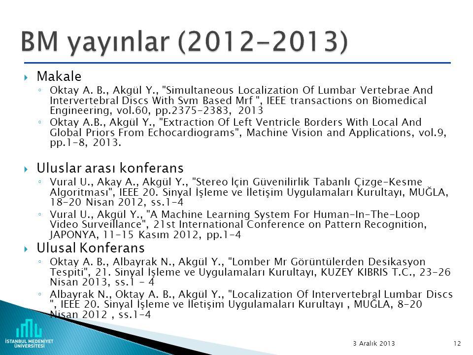 BM yayınlar (2012-2013) Makale Uluslar arası konferans