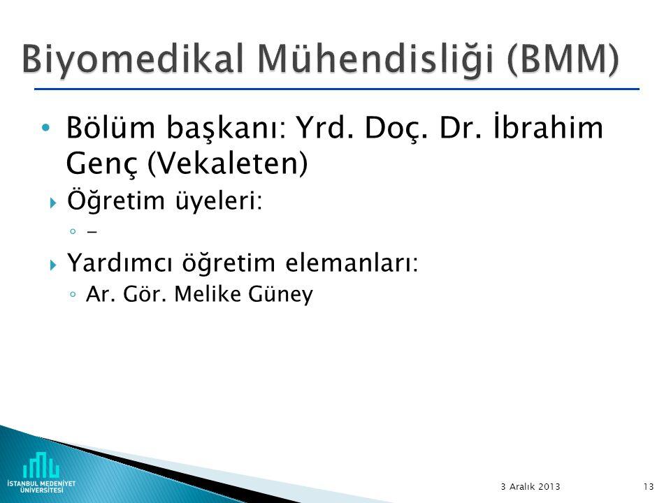 Biyomedikal Mühendisliği (BMM)