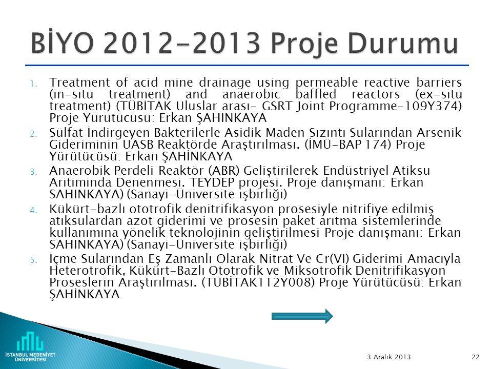 BİYO 2012-2013 Proje Durumu