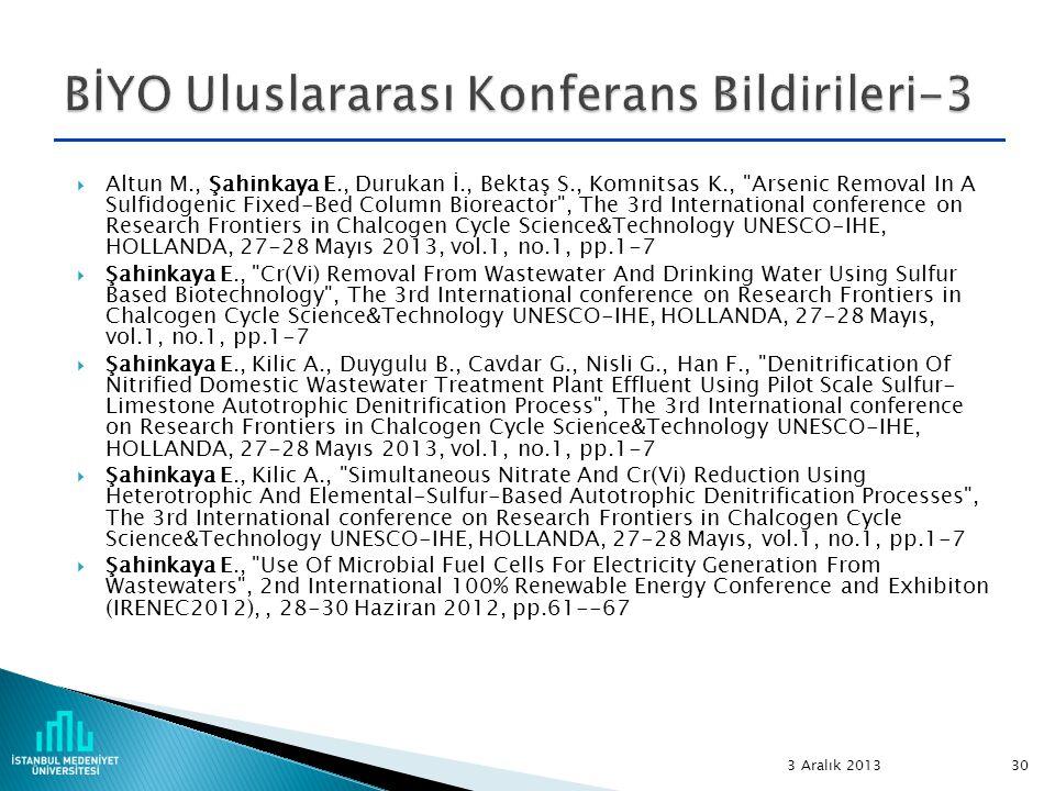 BİYO Uluslararası Konferans Bildirileri-3