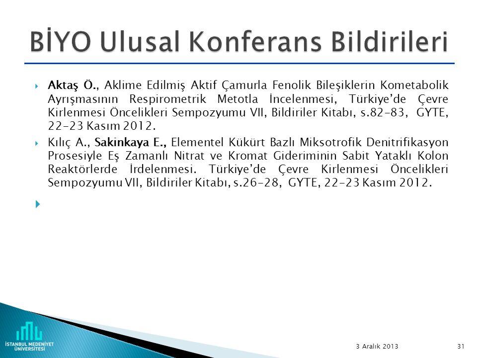 BİYO Ulusal Konferans Bildirileri