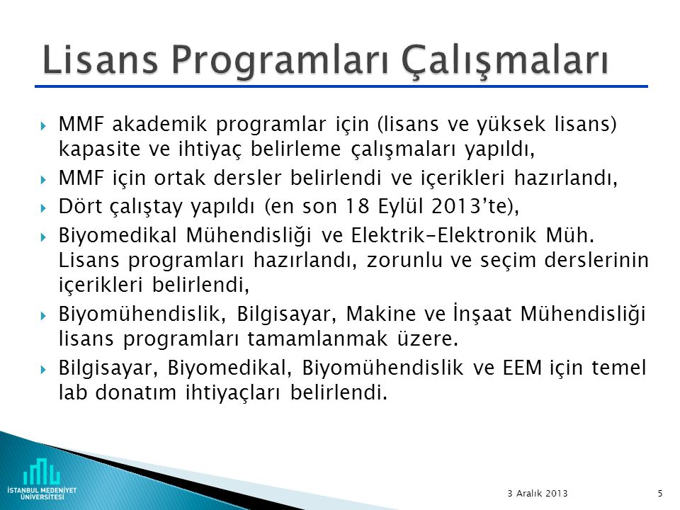 Lisans Programları Çalışmaları