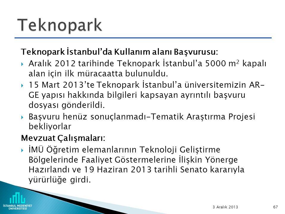 Teknopark Teknopark İstanbul'da Kullanım alanı Başvurusu: