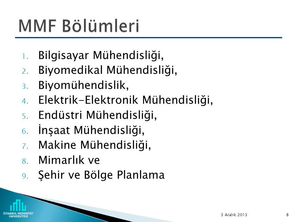 MMF Bölümleri Bilgisayar Mühendisliği, Biyomedikal Mühendisliği,