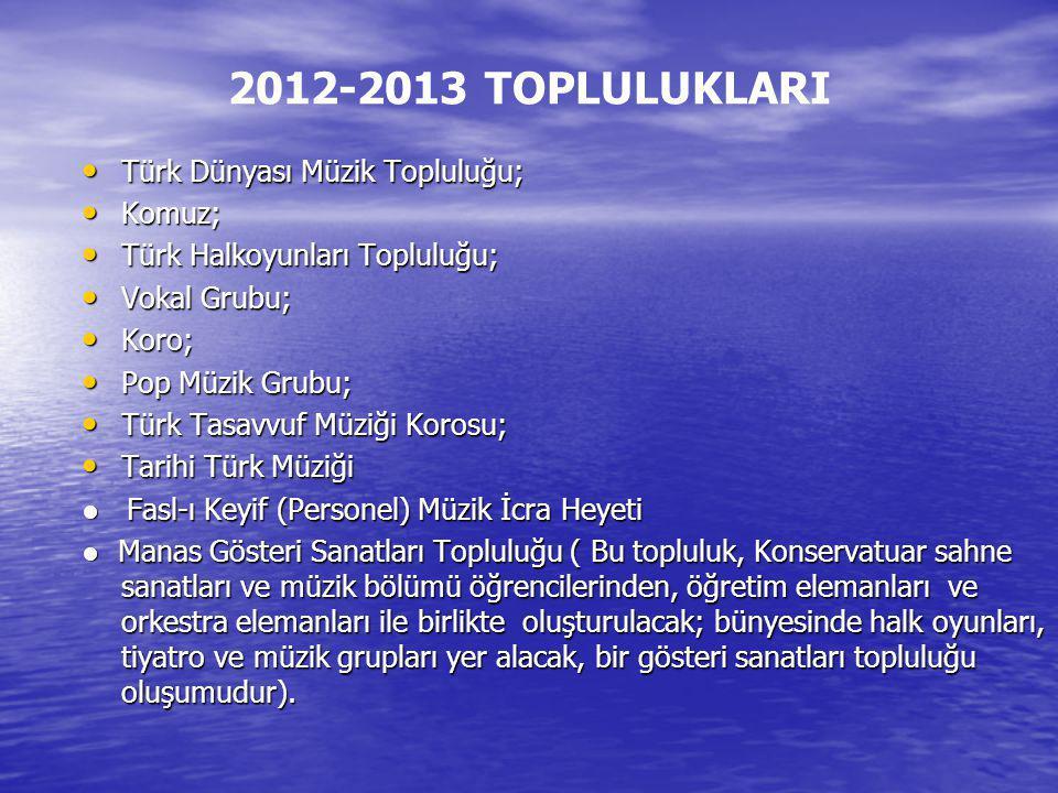 2012-2013 TOPLULUKLARI Türk Dünyası Müzik Topluluğu; Komuz;