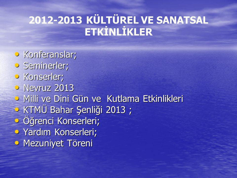 2012-2013 KÜLTÜREL VE SANATSAL ETKİNLİKLER