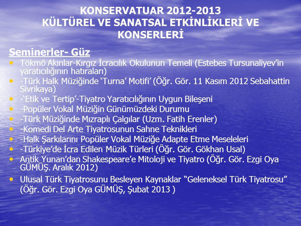 KONSERVATUAR 2012-2013 KÜLTÜREL VE SANATSAL ETKİNLİKLERİ VE KONSERLERİ