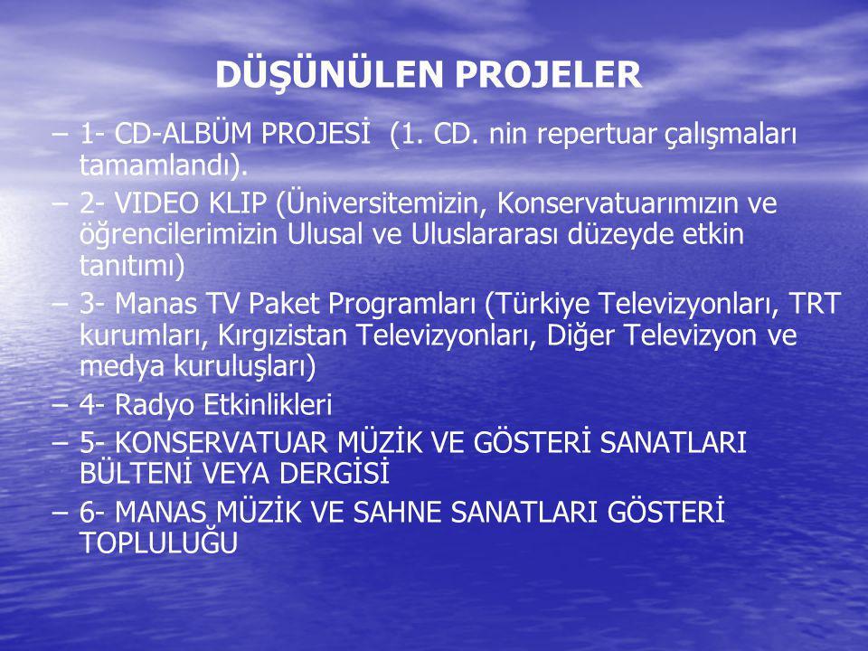 DÜŞÜNÜLEN PROJELER 1- CD-ALBÜM PROJESİ (1. CD. nin repertuar çalışmaları tamamlandı).