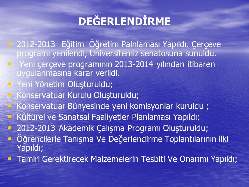 DEĞERLENDİRME 2012-2013 Eğitim Öğretim Palnlaması Yapıldı. Çerçeve programı yenilendi, Üniversitemiz senatosuna sunuldu.