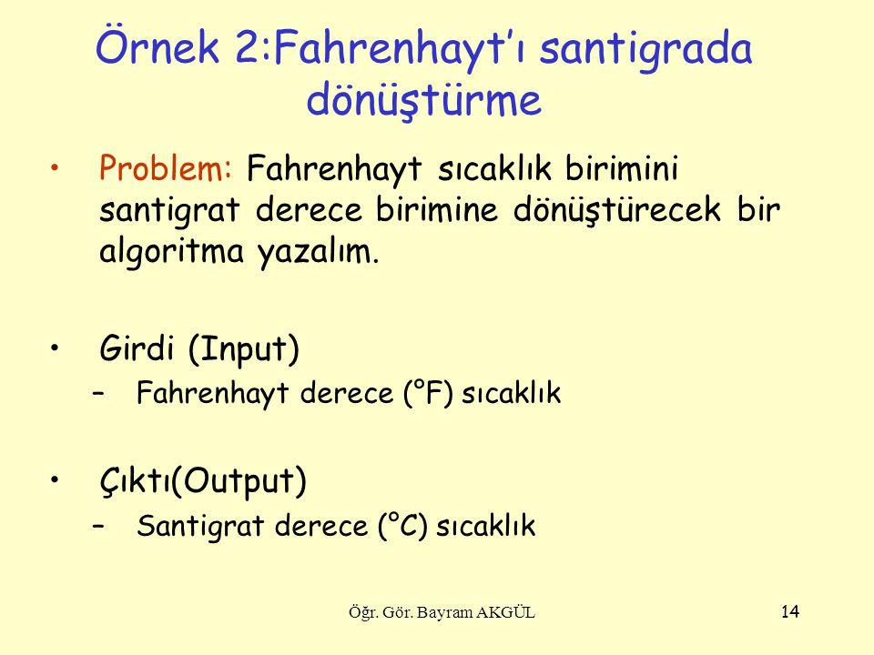Örnek 2:Fahrenhayt'ı santigrada dönüştürme