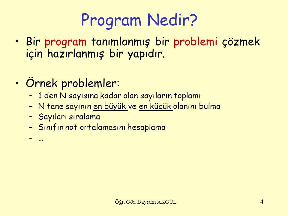 Program Nedir Bir program tanımlanmış bir problemi çözmek için hazırlanmış bir yapıdır. Örnek problemler: