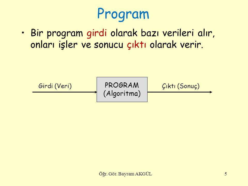Program Bir program girdi olarak bazı verileri alır, onları işler ve sonucu çıktı olarak verir. PROGRAM.