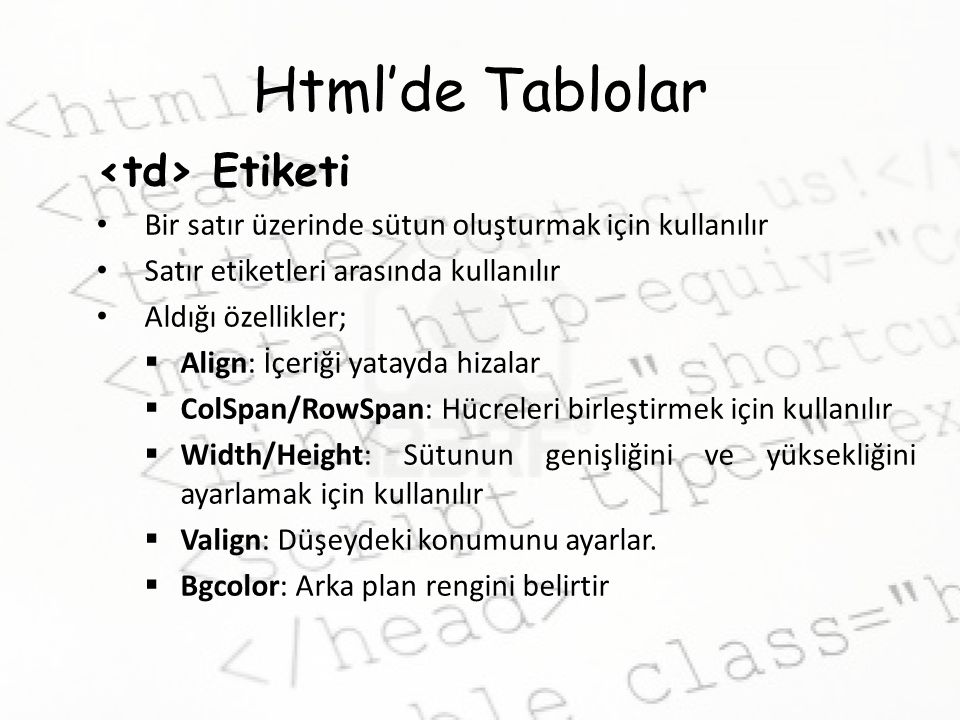 Html'de Tablolar <td> Etiketi