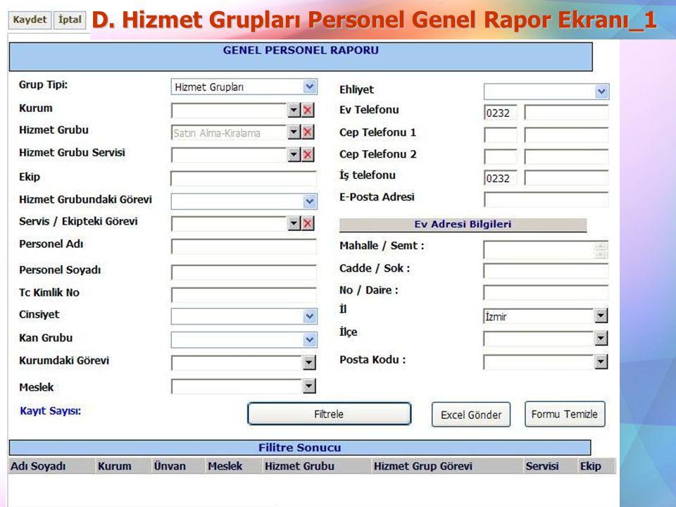 D. Hizmet Grupları Personel Genel Rapor Ekranı_1