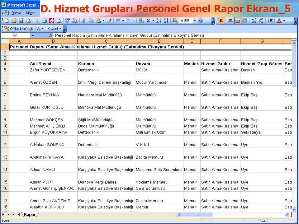 D. Hizmet Grupları Personel Genel Rapor Ekranı_5