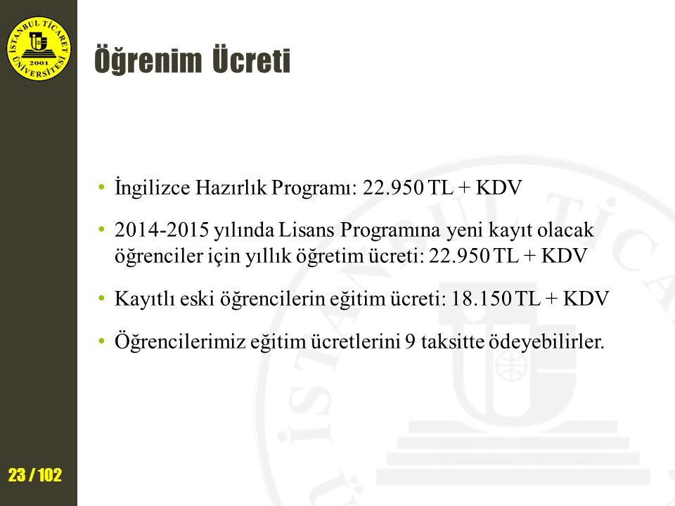 Öğrenim Ücreti İngilizce Hazırlık Programı: 22.950 TL + KDV