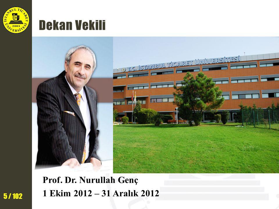 Dekan Vekili Prof. Dr. Nurullah Genç 1 Ekim 2012 – 31 Aralık 2012