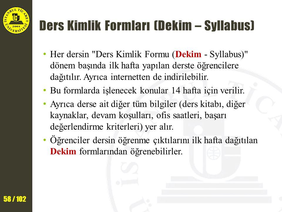 Ders Kimlik Formları (Dekim – Syllabus)