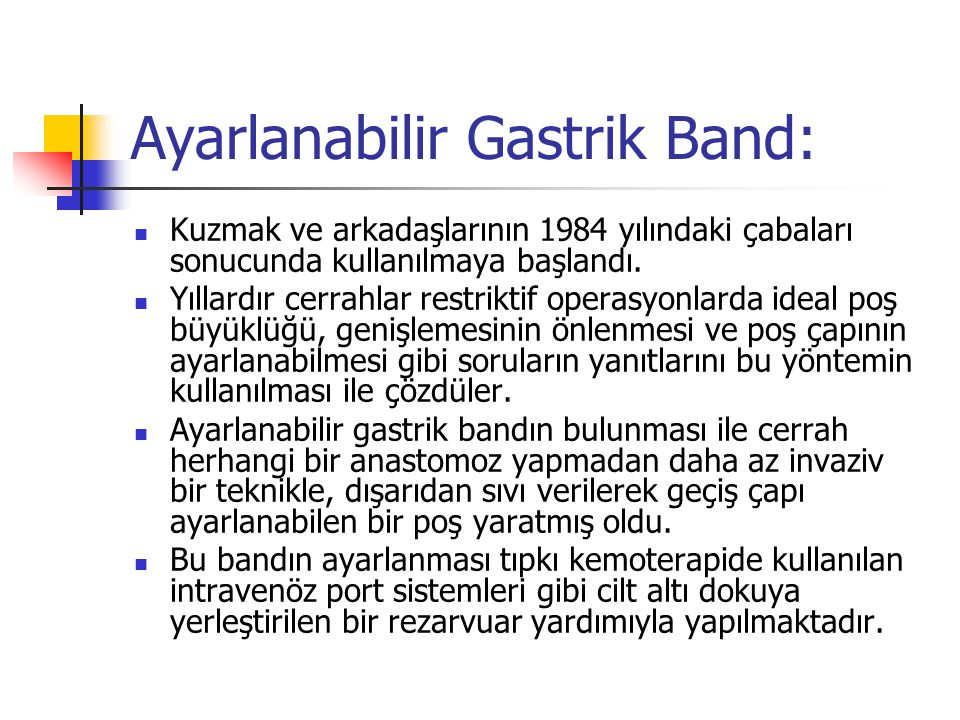 Ayarlanabilir Gastrik Band: