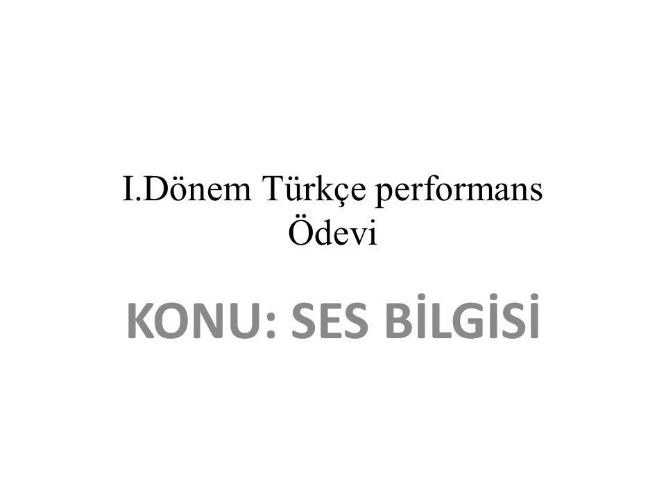 I.Dönem Türkçe performans Ödevi