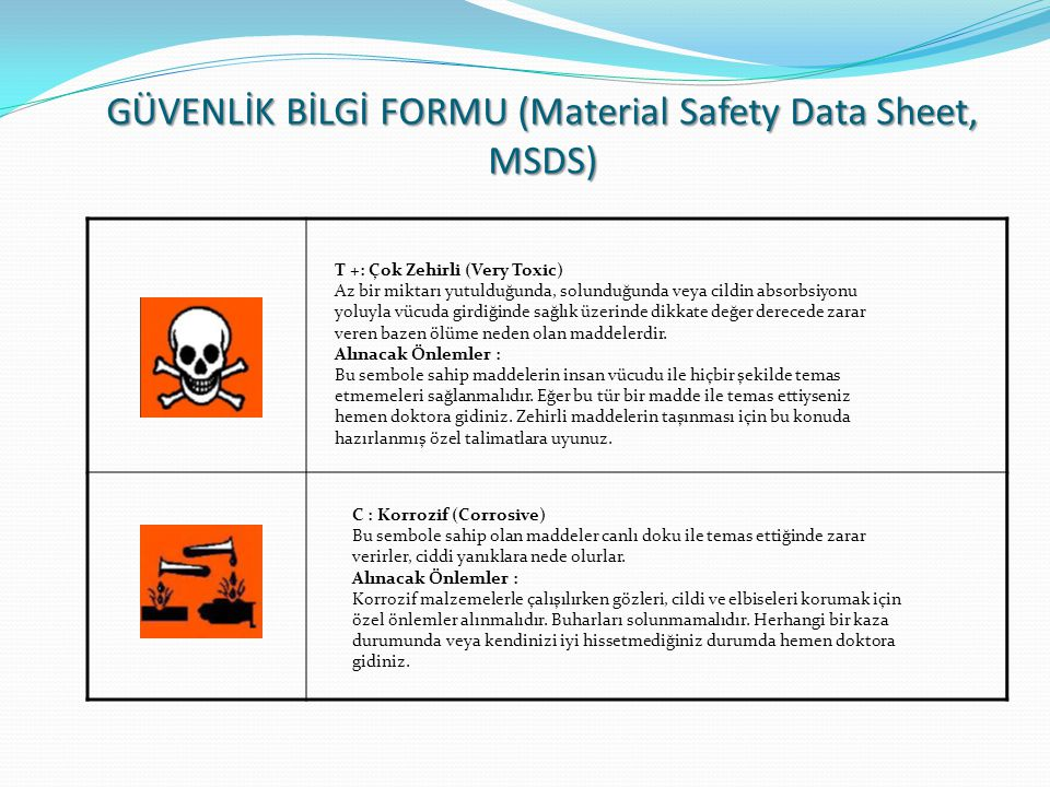 GÜVENLİK BİLGİ FORMU (Material Safety Data Sheet, MSDS)