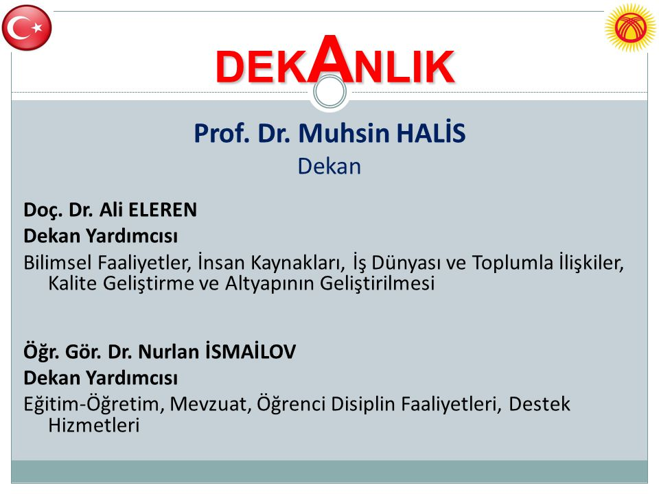 DEKANLIK Prof. Dr. Muhsin HALİS Dekan Doç. Dr. Ali ELEREN