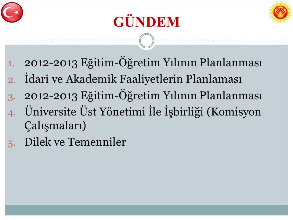 GÜNDEM 2012-2013 Eğitim-Öğretim Yılının Planlanması