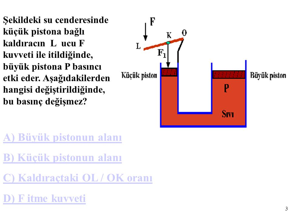 A) Büyük pistonun alanı B) Küçük pistonun alanı