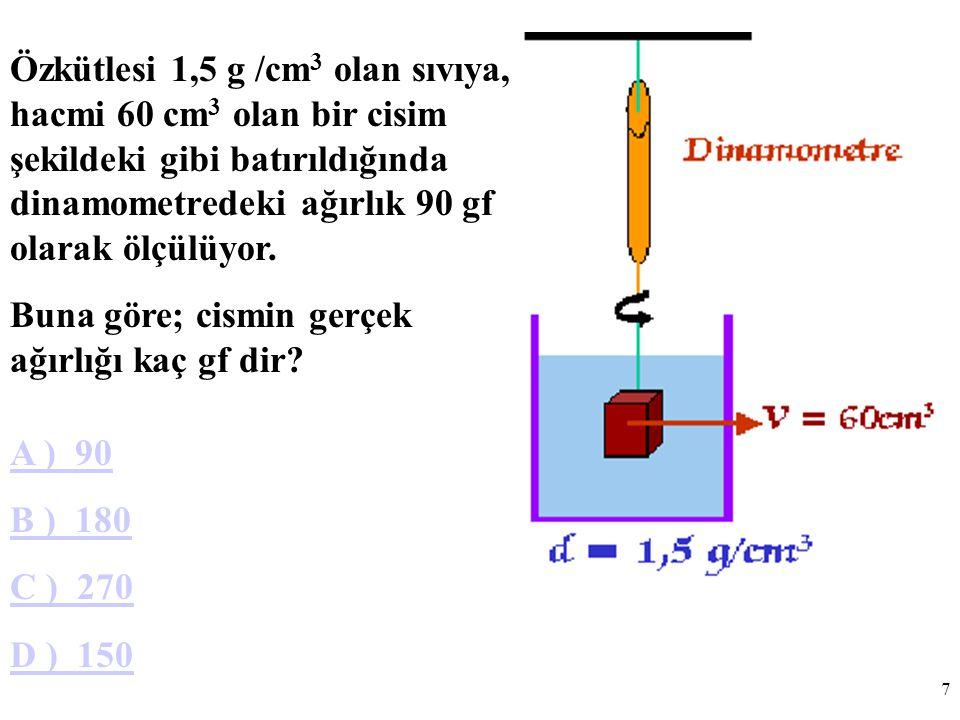 Özkütlesi 1,5 g /cm3 olan sıvıya, hacmi 60 cm3 olan bir cisim şekildeki gibi batırıldığında dinamometredeki ağırlık 90 gf olarak ölçülüyor.
