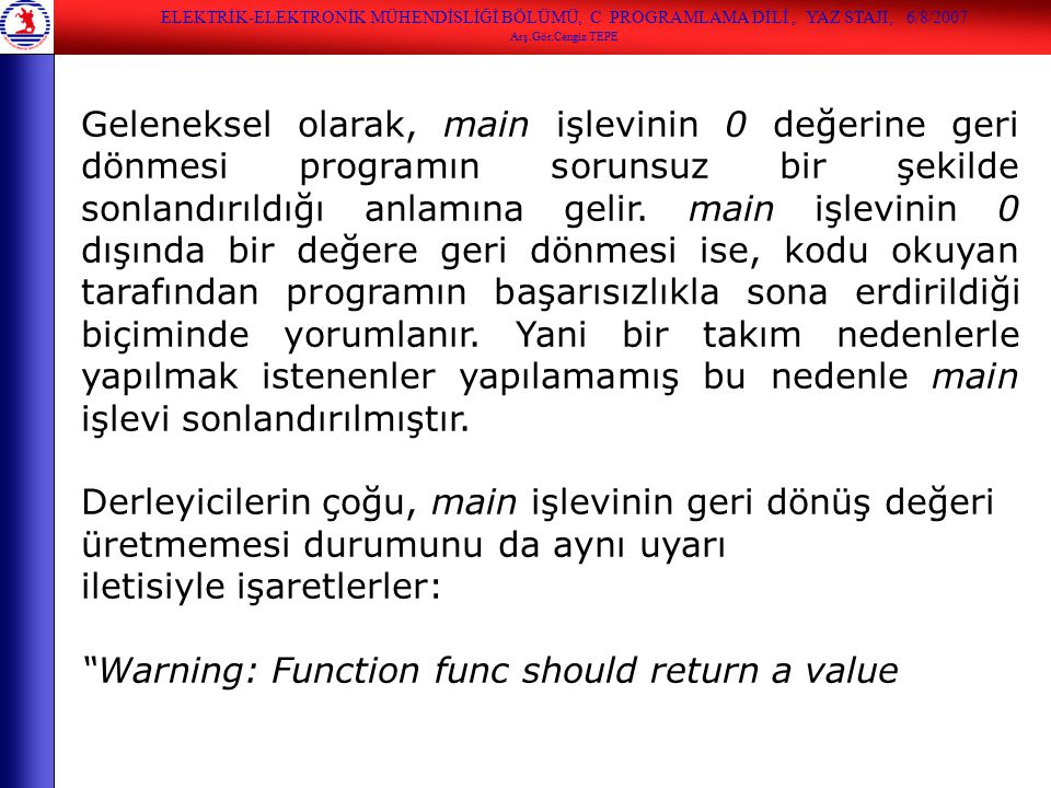 iletisiyle işaretlerler: Warning: Function func should return a value