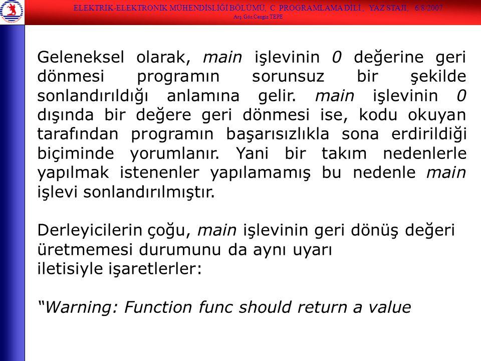 iletisiyle işaretlerler: Warning: Function func should return a value
