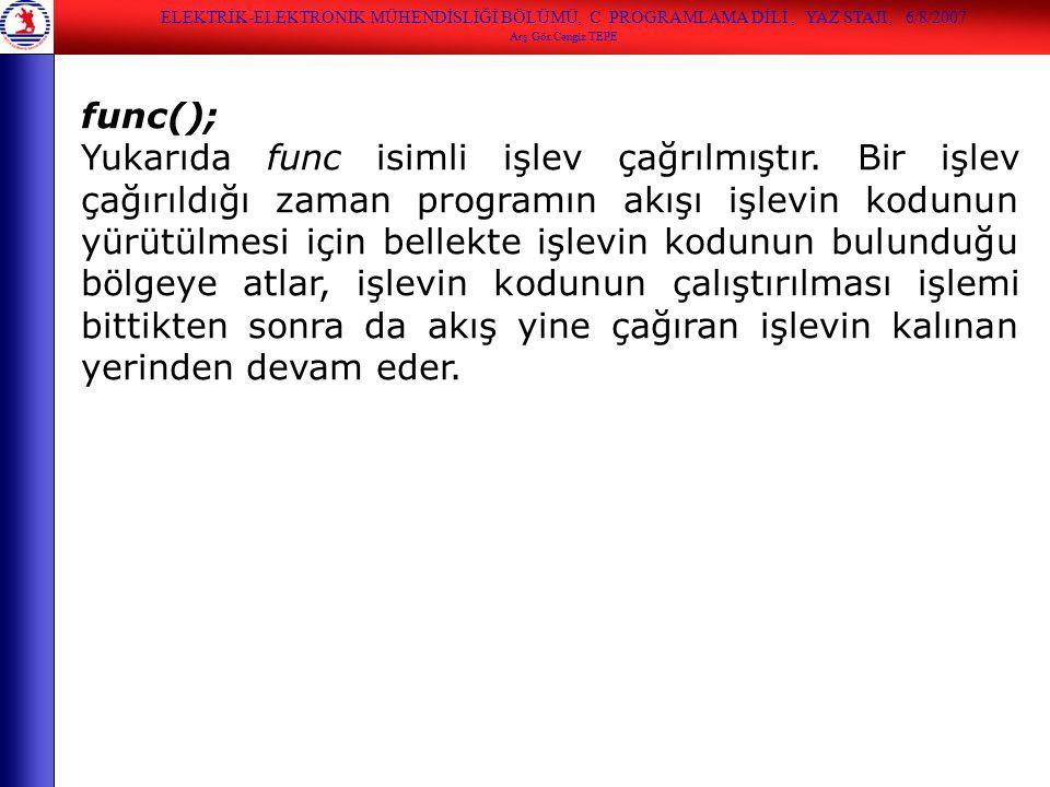 ELEKTRİK-ELEKTRONİK MÜHENDİSLİĞİ BÖLÜMÜ, C PROGRAMLAMA DİLİ , YAZ STAJI, 6/8/2007
