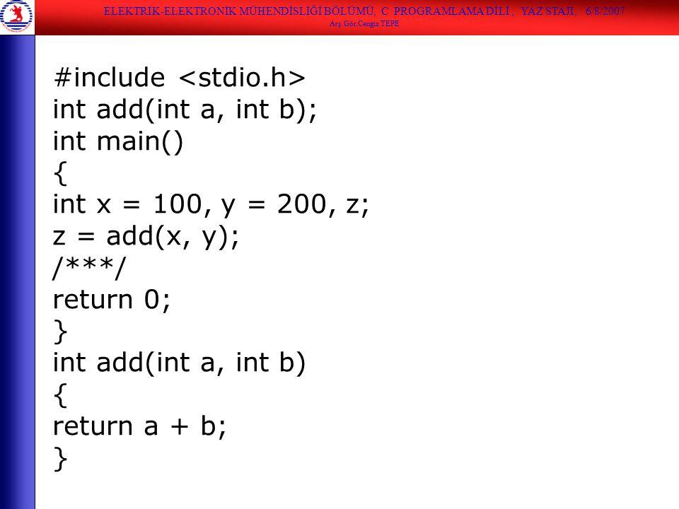 #include <stdio.h> int add(int a, int b); int main() {