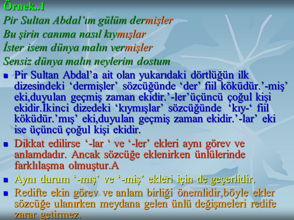 Örnek..1 Pir Sultan Abdal'ım gülüm dermişler. Bu şirin canıma nasıl kıymışlar. İster isem dünya malın vermişler.