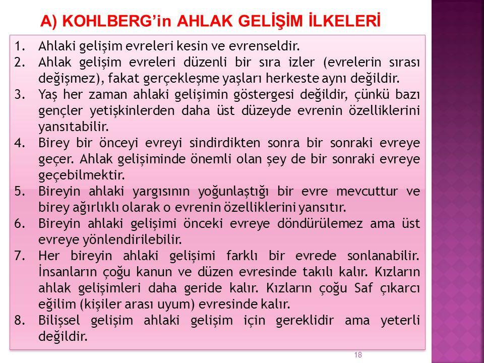 A) KOHLBERG'in AHLAK GELİŞİM İLKELERİ