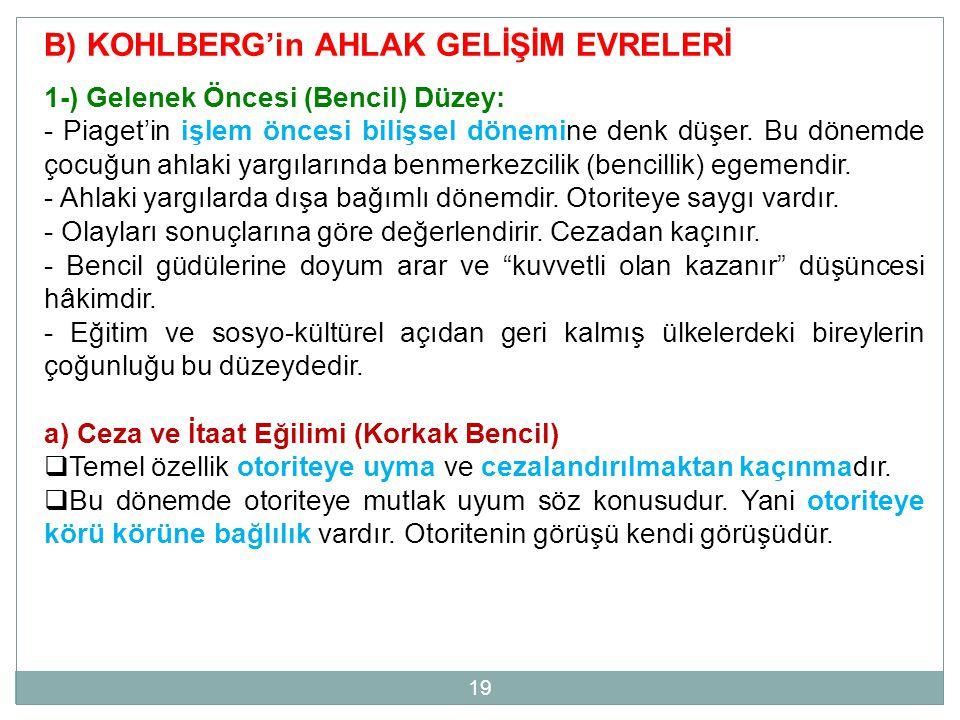 B) KOHLBERG'in AHLAK GELİŞİM EVRELERİ