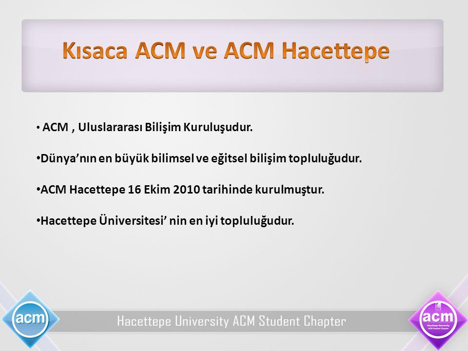 Kısaca ACM ve ACM Hacettepe