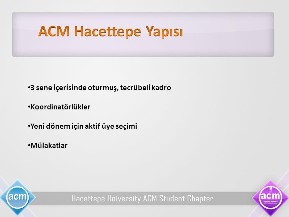 ACM Hacettepe Yapısı 3 sene içerisinde oturmuş, tecrübeli kadro