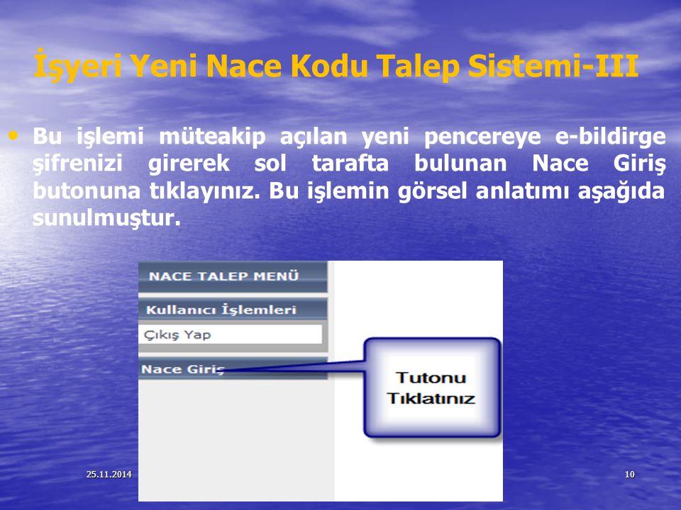 İşyeri Yeni Nace Kodu Talep Sistemi-III