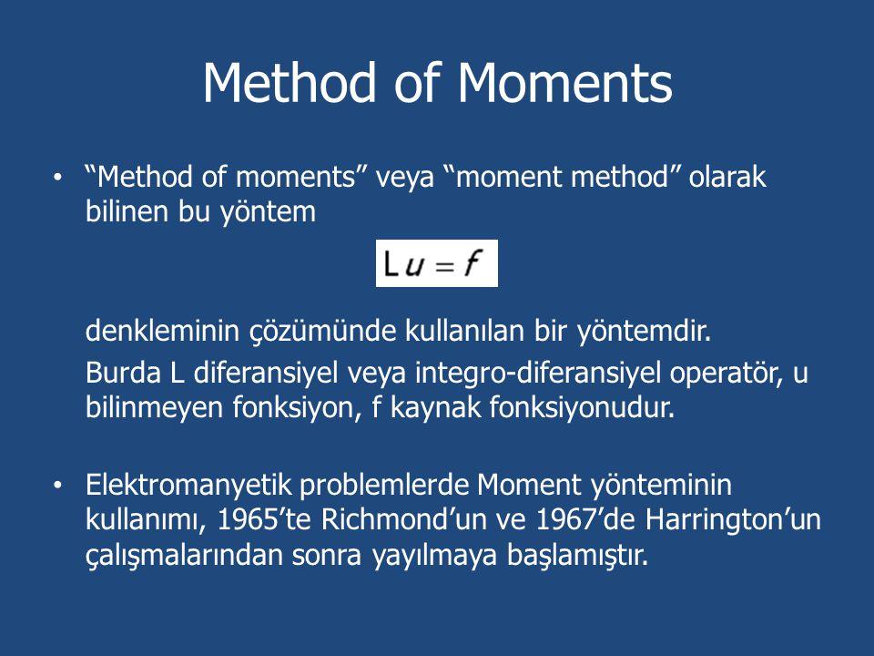 Method of Moments Method of moments veya moment method olarak bilinen bu yöntem. denkleminin çözümünde kullanılan bir yöntemdir.