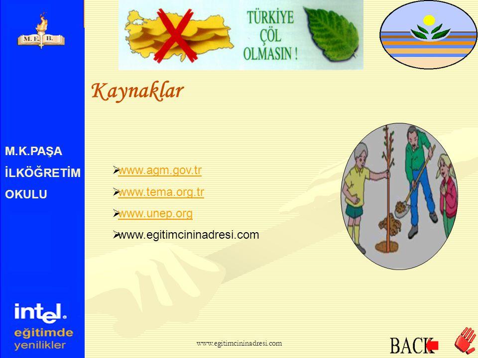 Kaynaklar M.K.PAŞA İLKÖĞRETİM OKULU www.agm.gov.tr www.tema.org.tr