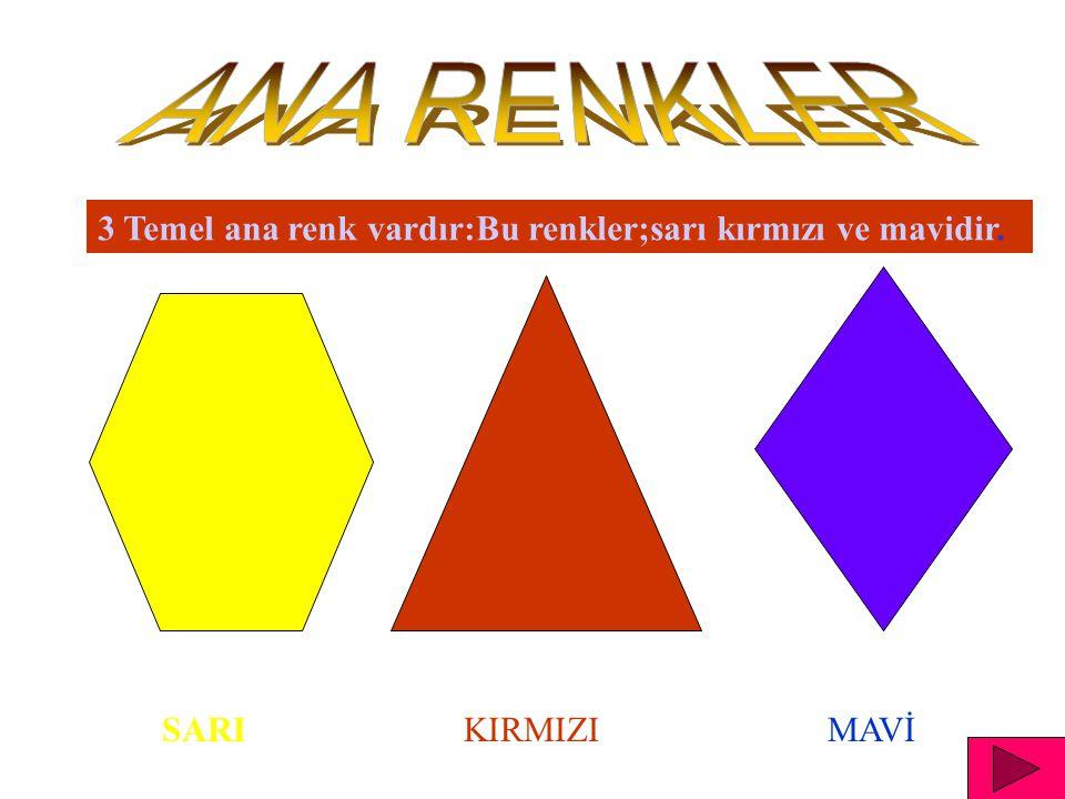 ANA RENKLER 3 Temel ana renk vardır:Bu renkler;sarı kırmızı ve mavidir. SARI KIRMIZI MAVİ