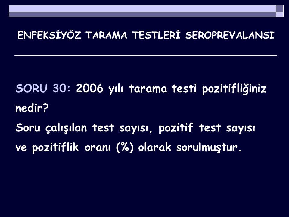ENFEKSİYÖZ TARAMA TESTLERİ SEROPREVALANSI