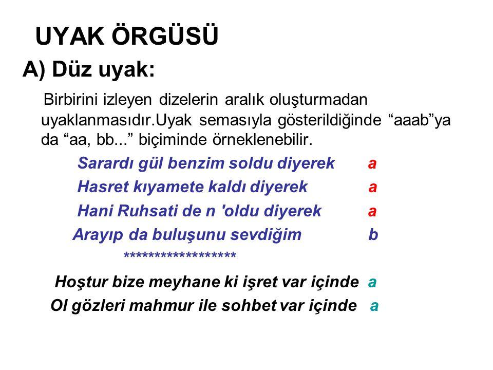 UYAK ÖRGÜSÜ A) Düz uyak: