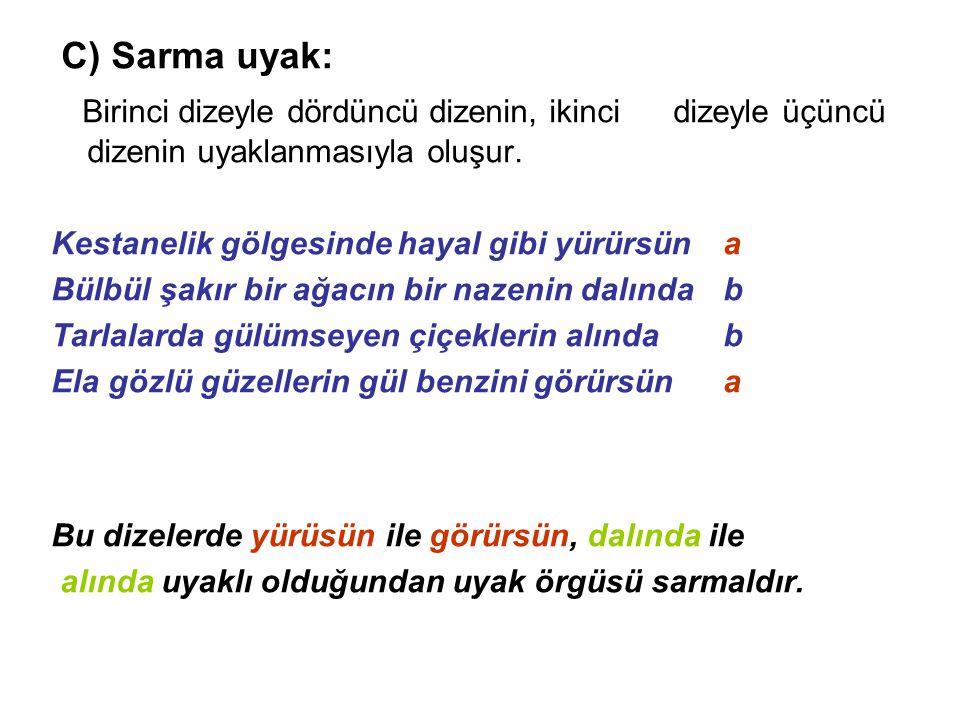 C) Sarma uyak: Birinci dizeyle dördüncü dizenin, ikinci dizeyle üçüncü dizenin uyaklanmasıyla oluşur.