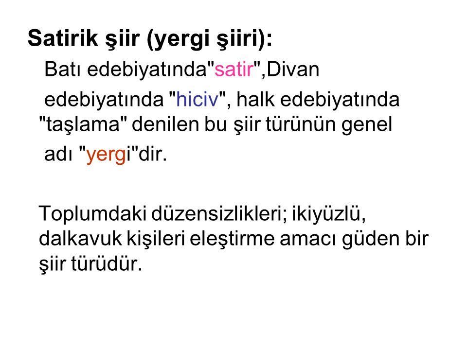 Satirik şiir (yergi şiiri):
