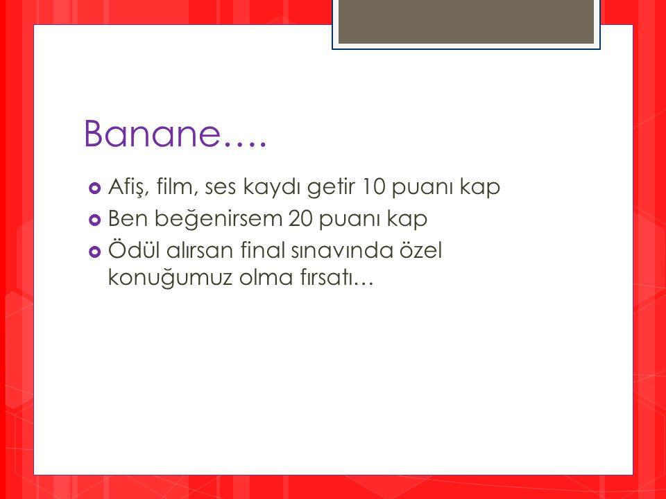Banane…. Afiş, film, ses kaydı getir 10 puanı kap