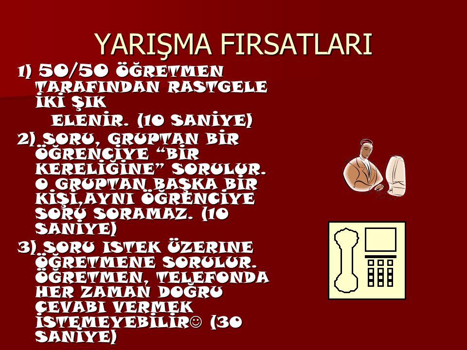 YARIŞMA FIRSATLARI 1) 50/50 ÖĞRETMEN TARAFINDAN RASTGELE İKİ ŞIK